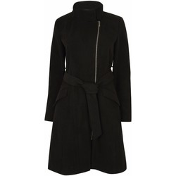 Clothing Women Trench coats Anastasia Womens Black Zip Belted Winter Coat Black