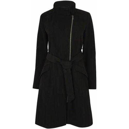 Clothing Women Trench coats Anastasia Womens Black Zip Belted Winter Coat Black