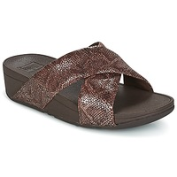 Shoes Women Mules FitFlop SWOOP SLIDE Chocolate
