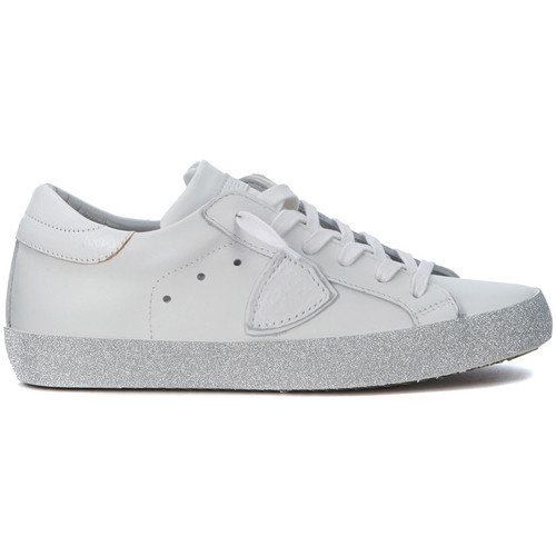 Shoes Low top trainers Philippe Model Paris Paris white leather and glitter sneaker White