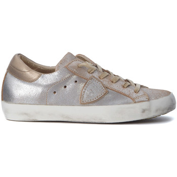 Shoes Low top trainers Philippe Model Paris Paris sneaker in pale pink and gold laminated leather Gold