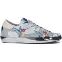Shoes Low top trainers Philippe Model Paris Paris Tropical leather sneakers with hummingbirds and glitters Silver
