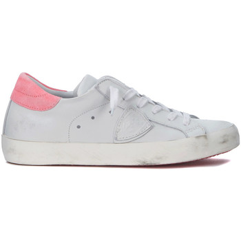 Shoes Low top trainers Philippe Model Paris Paris white and fluo pink leather sneakers White