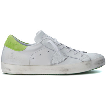 Shoes Low top trainers Philippe Model Paris Paris white and fluo green leather sneakers White