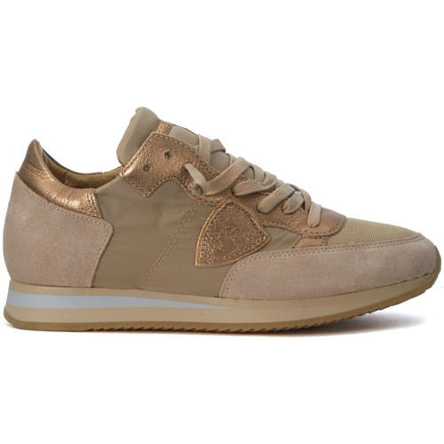 Shoes Low top trainers Philippe Model Paris Tropez Mondial beige and gold sneakers Gold