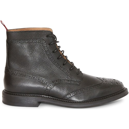 Shoes Men Mid boots The Idle Man Leather Brogue Boot Black Black