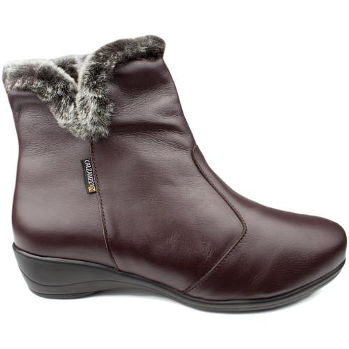 Shoes Women Loafers Calzamedi BOOTS  DIABETICS DOUBLE SCALES ZIPPER W BROWN