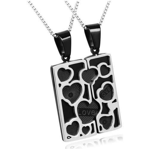 Watches Women Pendants Blue Pearls Set : Stainless Steel Pendant Man Woman Couple Love and Heart Gray
