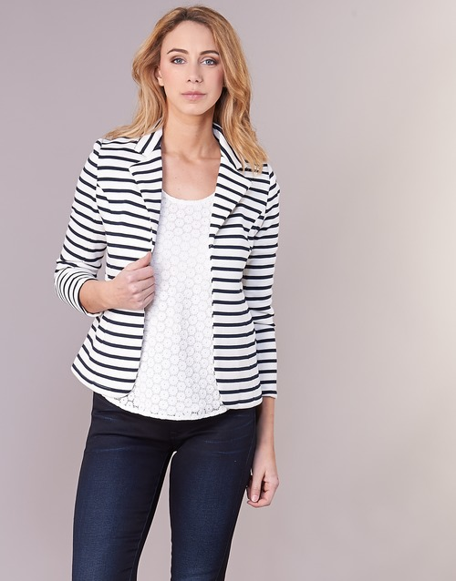 Clothing Women Jackets / Blazers Moony Mood IFAROUCHE White / Marine