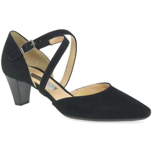 Shoes Women Heels Gabor Callow Womens Modern Cross Strap Court Shoes black