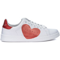 Shoes Trainers Nira Rubens Daiquiri white and coral red leather sneakers White