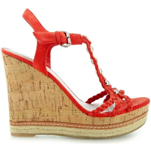 Shoes Women Sandals Guess Reign Zeppa Wedge Suede Orange Red