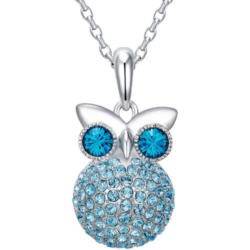 Watches Women Pendants Blue Pearls Blue Swarovski Crystal Elements and Rhodium Plated Owl Pendant Multicolored