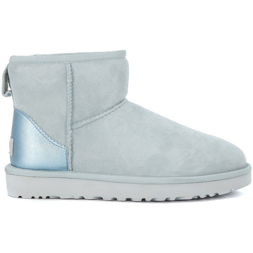 Shoes Women Mid boots UGG UGG Classic Mini sheepskin ankle boots in light-blue metal leath Light blue