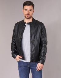 Clothing Men Leather jackets / Imitation leather Yurban IMIMID Black