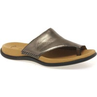 Shoes Women Sandals Gabor Lanzarote Toe Loop Womens Mules Silver