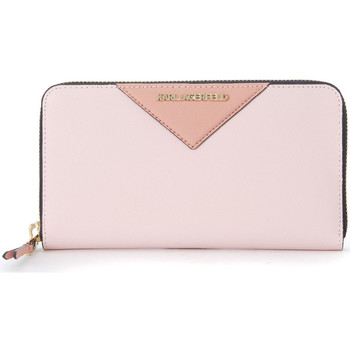 Bags Women Wallets Karl Lagerfeld pink saffiano leather wallet Pink