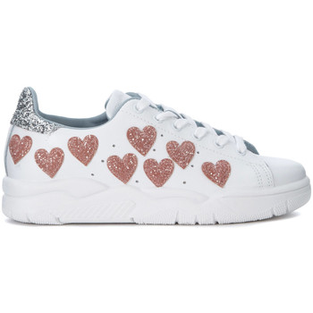 Shoes Women Low top trainers Chiara Ferragni Chiara Ferragni Roger white leather snaker with glitter hearts White