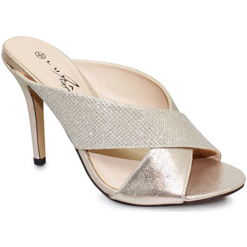 Shoes Women Sandals Lunar Ladies Hallie High Heel Mule Sandal Gold Metallic