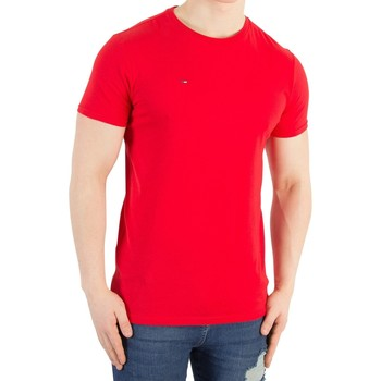 Clothing Men short-sleeved t-shirts Tommy Jeans Men's Basic Slim Fit T-Shirt, Red red