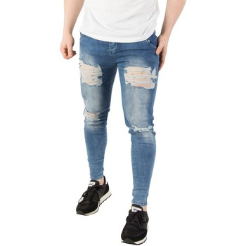 Clothing Men Skinny jeans Sik Silk Men's Skinny Distressed Denim Jeans, Blue blue