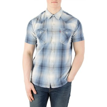 Clothing Men short-sleeved shirts Levi's Men's Barstow Western Shortsleeved Shirt, Blue blue