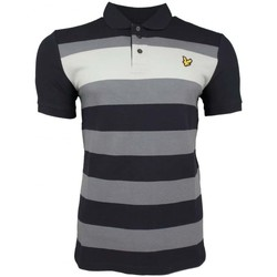 Clothing Men short-sleeved polo shirts Lyle And Scott Vintage Textured Stripe Polo Shirt blue