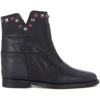 Shoes Women Shoe boots Via Roma 15 Malibù black leather ankle boots with studs Black