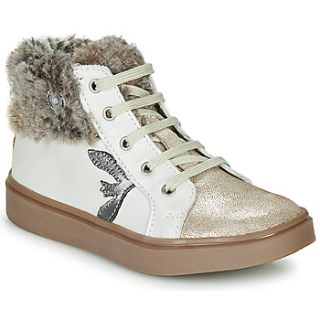 Shoes Girl Hi top trainers Catimini MARCELLE Beige / Gold
