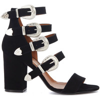 Shoes Women Sandals Via Roma 15 black leather sandals with buckles Black