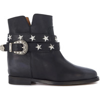 Shoes Women Shoe boots Via Roma 15 Malibù black leather ankle boots with strap and buckle Black