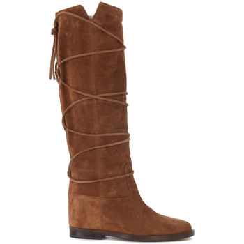 Shoes Women High boots Via Roma 15 brown leather boots with lace Brown