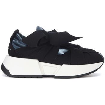 Shoes Women Low top trainers Mm6 Maison Margiela blue faux leather and black fabric sneakers Black