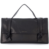 Bags Women Shoulder bags Orciani black leather briefcase with decorative knots on the flap. Black