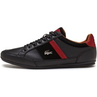 Shoes Men Low top trainers Lacoste Chaymon 417 1 CAM Trainers in Black & Red 734CAM0070 02H Black