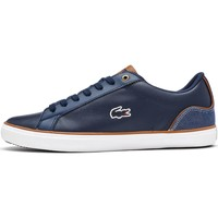 Shoes Men Low top trainers Lacoste Lerond 317 3 CAM Trainers in Navy & Brown 734CAM0043 2Q8 Blue