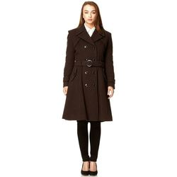 Clothing Women coats De La Creme Brown Womens Wool & Cashmere Winter Long Belted Coat Brown