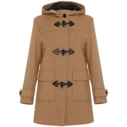 Clothing Women coats De La Creme Camel Womens Wool & Cashmere Winter Hooded Duffle Coat BEIGE