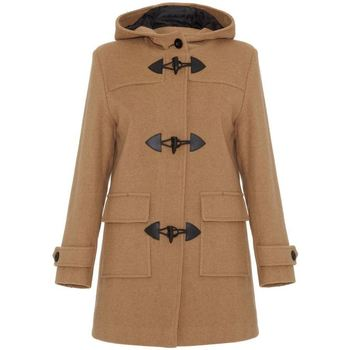 De La Creme  Camel Womens Wool   Cashmere Winter Hooded Duffle Coat  womens Coat in BEIGE