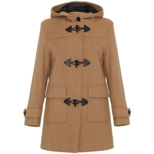 Clothing Women coats De La Creme Camel Womens Wool & Cashmere Winter Hooded Duffle Coat BEIGE