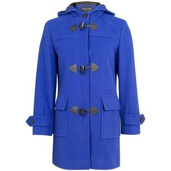 De La Creme  Royal Blue Womens Wool   Cashmere Winter Hooded Duffle Coat  womens Coat in blue