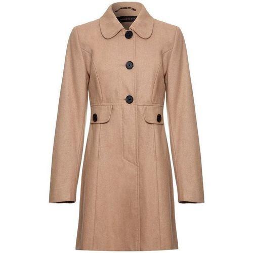 Clothing Women Coats Anastasia - Orange Womens Wool Winter 60`s Coat BEIGE