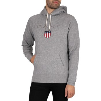 Clothing Men Sweaters Gant Shield Pullover Hoodie grey