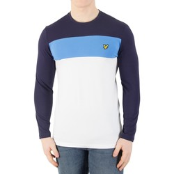 Clothing Men Long sleeved tee-shirts Lyle & Scott Men's Casuals Longsleeved Slim Block Stripe T-Shirt, White white