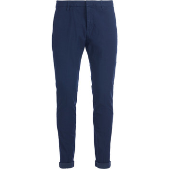 Clothing Men chinos Dondup Gaubert blue micro pattern trousers Blue