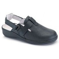 Shoes Women Mules Calzamedi clog comfortable double velcro BLACK