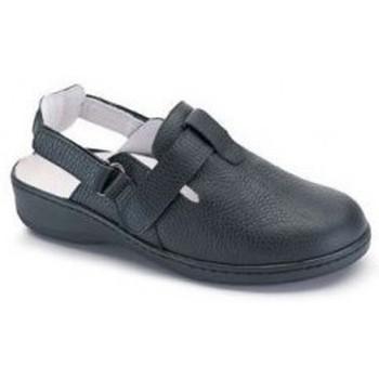 Shoes Women Mules Calzamedi clog comfortable double velcro BLACK