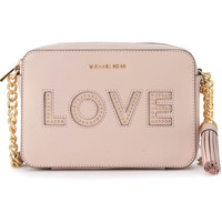 Bags Women Shoulder bags MICHAEL Michael Kors Ginny pink leather shoulder bag with LOVE writing and studs. Pink