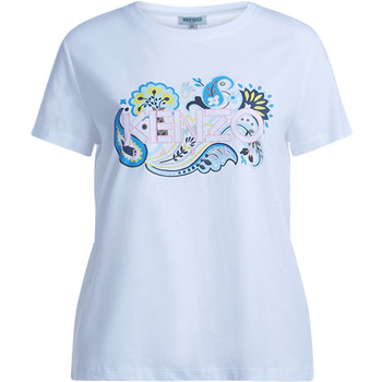 Clothing Women short-sleeved t-shirts Kenzo white t-shirt with multicolor print White
