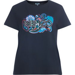 Clothing Women short-sleeved t-shirts Kenzo black t-shirt with multicolor print Black